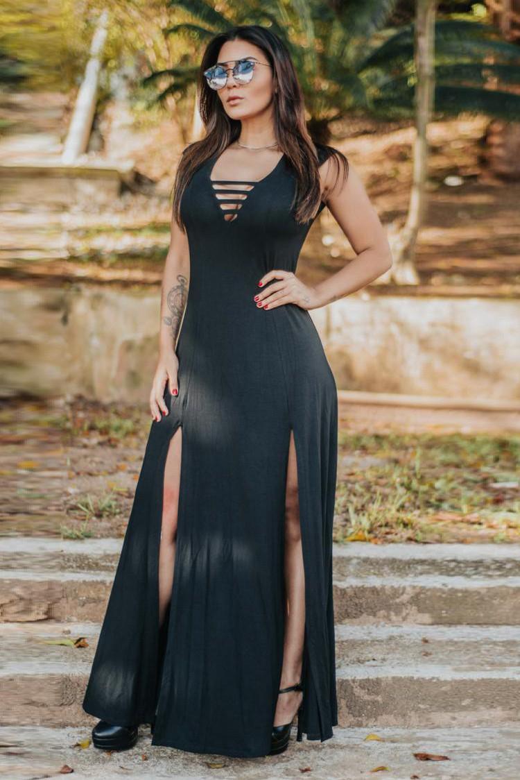 Vestido Longo Decote Tiras Fenda Preto