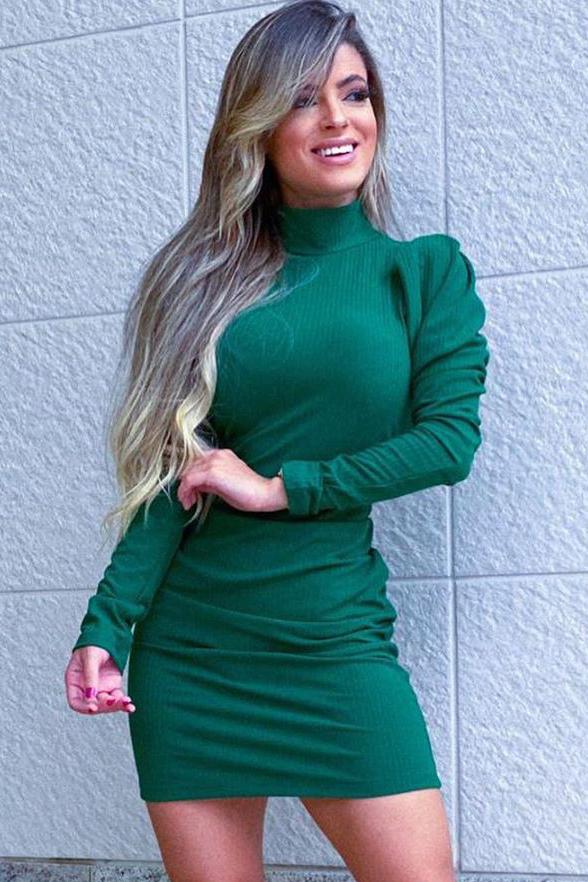 Vestido Curto Canelado Gola Alta Verde