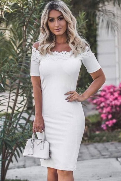 Vestido Midi Crepe Ombro A Ombro Renda Off White