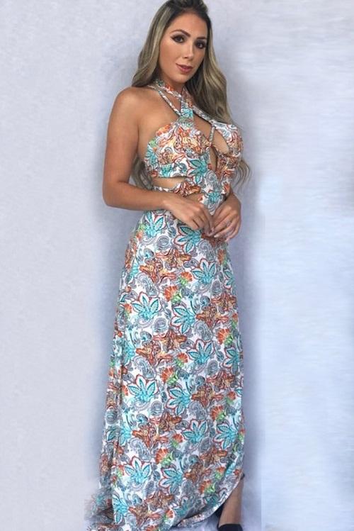 2c4ece9f4151 Vestido Longo Viscose Estampado Floral Strappy | Vitrine Outlet