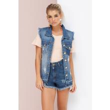 Colete Comprido Jeans Maxi