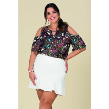 Blusa Plus Size Modal Estampada Ombro Vazada