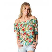 Blusa Ciganinha Estampa Floral Detalhe de Babado