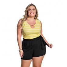 Blusa Plus Size Malha Canelada Listrada Amarela