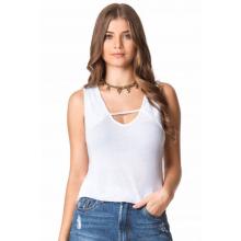 Blusa Crepe Detalhe em Renda Decotada Branca