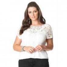 Blusa Branca Plus Size Aplicação Guipir no Decote
