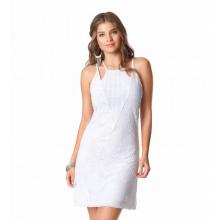 Vestido Curto Renda Branco Alças Decotado