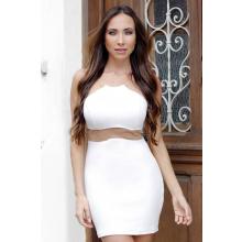 Vestido Curto Crepe Branco Detalhe Alças Tule