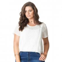 Blusa Plus Size Branca Feixe Posterior Bordada Chiffon