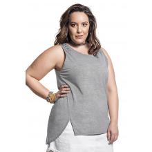 Blusa Plus Size Básica Cinza Costas Alongadas