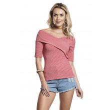 Blusa Cotton Ombro a Ombro Decote Transpasse