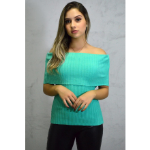Blusa Manga Curta Tricot Ciganinha Verde