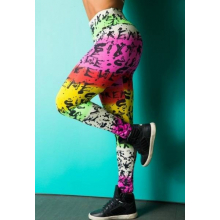 Legging Fitness Supplex Cós Alto Texto Multicolor
