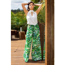 Calça Pantalona Cós Alto Estampa Verde