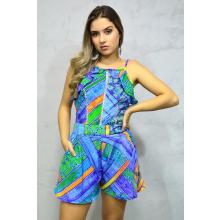 Macaquinho Chiffon Babado Alças Geométrico Azul