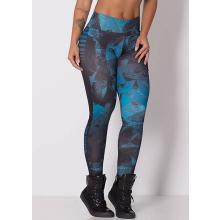 Legging Fitness Supplex Cós Alto Geométrica Azul