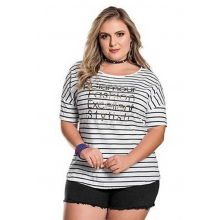Blusa Plus Size Básica Listrada Preto e Branco