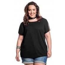 Blusa Plus Size Básica Preta Detalhe Tule Costas