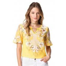 Blusa Viscose Amarela Estampa Sublimada