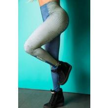 Legging Fitness Supplex Cós Alto Linhas Laterais Azul