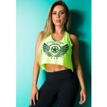 Cropped Fitness Sem Manga Dry Fit Mullet Escudo Verde