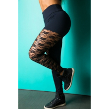 Legging Fitness Supplex Cós Alto Laretal Rendada Preta