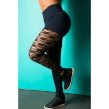 Legging Fitness Supplex Cós Alto Laretal Rendada Preta