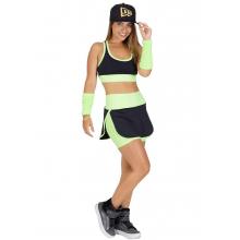 Conjunto Fitness Supplex Cós Alto Short-saia Top Fluorescente Verde