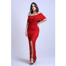 Vestido Longo Tricot Glam Fenda Ciganinha Vermelho