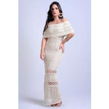 Vestido Longo Tricot Glam Ciganinha Areia