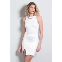 Vestido Curto Tubinho Branco Recorte Anatômico