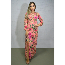Vestido Longo Viscolycra Manga Longa Fenda Floral Rosa