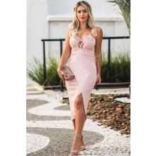 Vestido Midi Rosê Decote Trançado Fenda Frontal