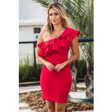 Vestido Curto Crepe Decote Babado Assimétrico Vermelho