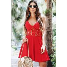 Vestido Curto Crepe Alças Detalhe Rendado Vermelho