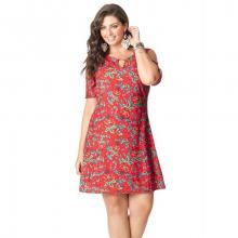 Vestido Curto Plus Size Cetim Ombro Nu Floral Laranja