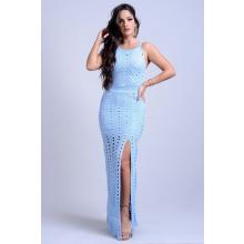 Vestido Longo Tricot Vazado Azul Fenda