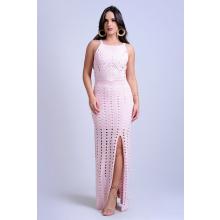 Vestido Longo Tricot Vazado Rosa Fenda