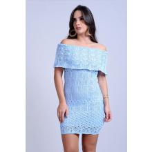 Vestido Curto Tricot Tainá Ciganinha Azul