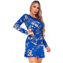 Vestido Curto Manga Longa Floral Azul Vazado Viscolycra