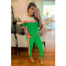 Conjunto Canelado Calça e Blusa Verde