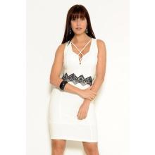 Vestido Curto Crepe Sem Mangas Acinturado Strappy Branco