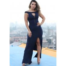 Vestido Longo Viscolycra Decote Tule Fenda Azul