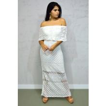 Vestido Longo Tricot Glam Ciganinha Branco