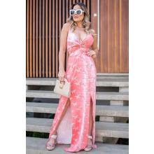 Vestido Longo Viscolycra Fenda Dupla Busto Trançado Rosa