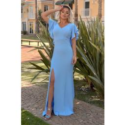 Vestido Longo Crepe Fenda Decote V Mangas Babado Costas Azul Claro