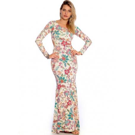 Vestido Longo Viscolycra Estampado Sereia Vermont Rosa