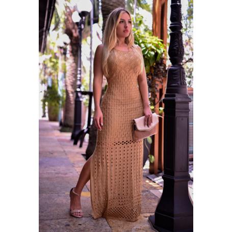 Vestido Longo Tricot Fenda Aisha Decote U