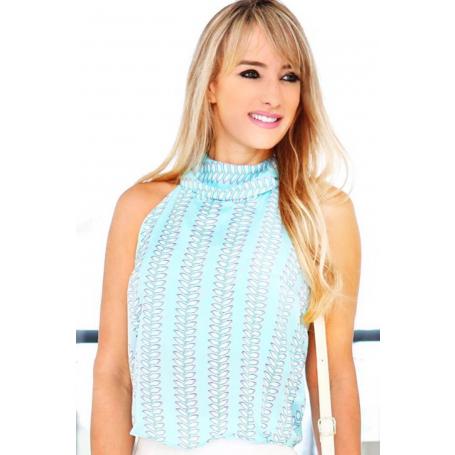 Blusa Sem Manga Crepe Estampada Azul Clara