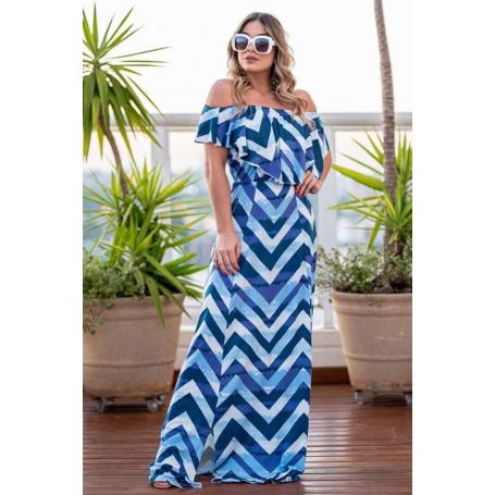 Vestido Longo Viscolycra Ciganinha Estampado Azul